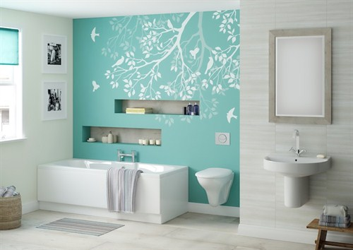 Seaside bathroom styles betta living for Aqua colored bathroom accessories