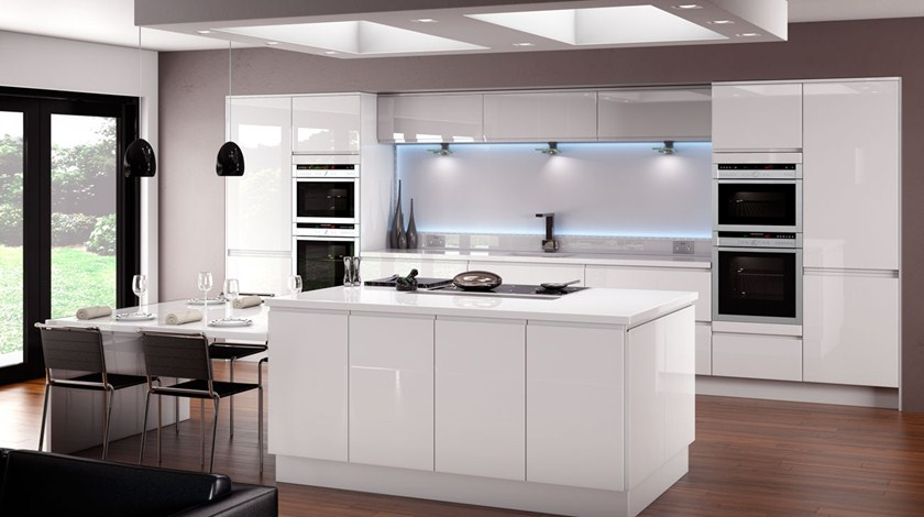 White Gloss Kitchen Ideas Part - 47: Horizon White Handleless Dining; Horizon Gloss White Fitted Kitchen ...