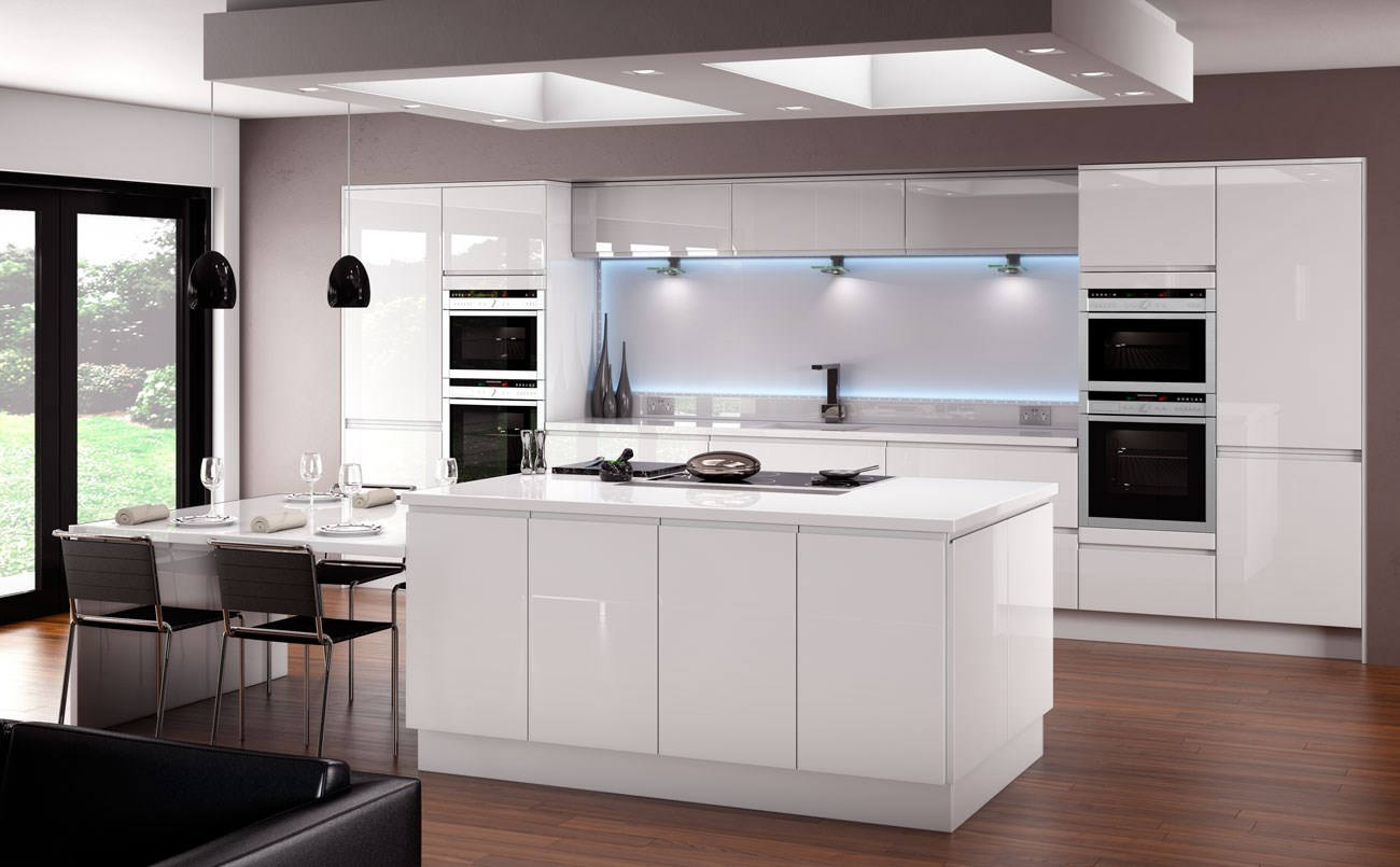 White gloss kitchen for Fitted kitchens