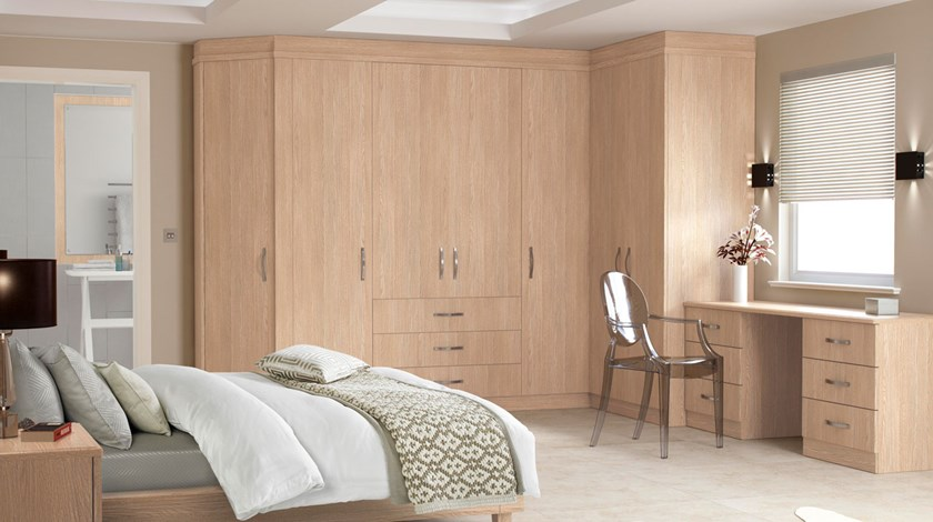 ... Cassia Limed Oak Finish Fitted Bedroom ...