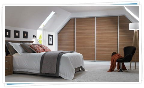 Angled Sliding Wardrobes in Nocino