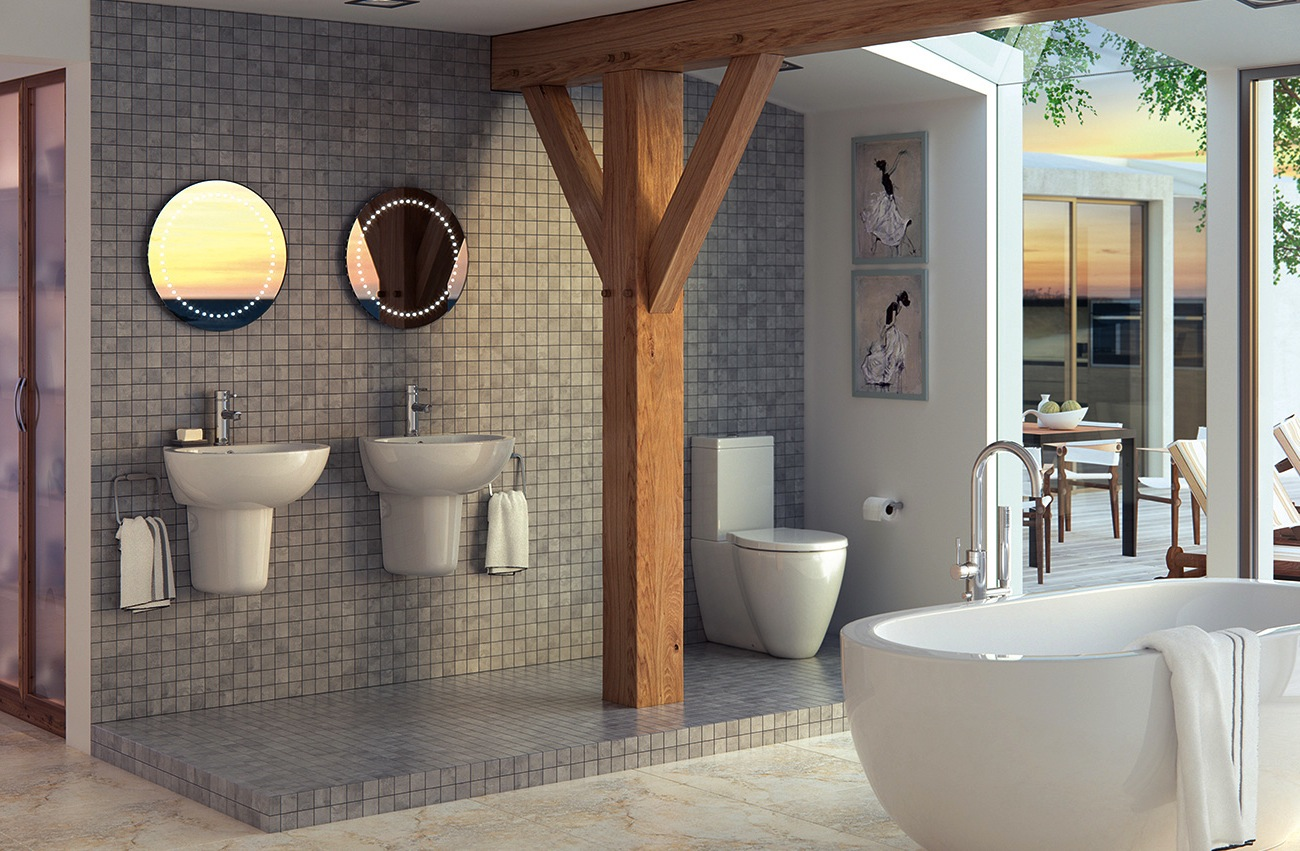Curved Freestanding Bath Wall Hung Bathroom Collection For Small Spaces