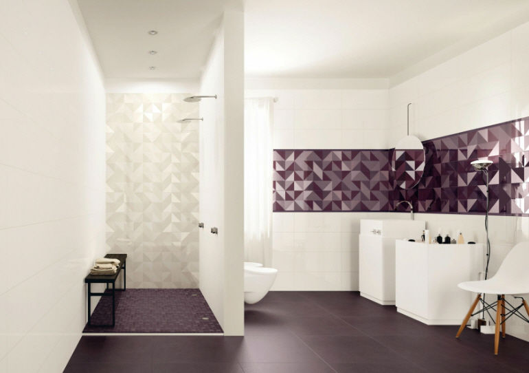 Geometric bathroom wall tiles