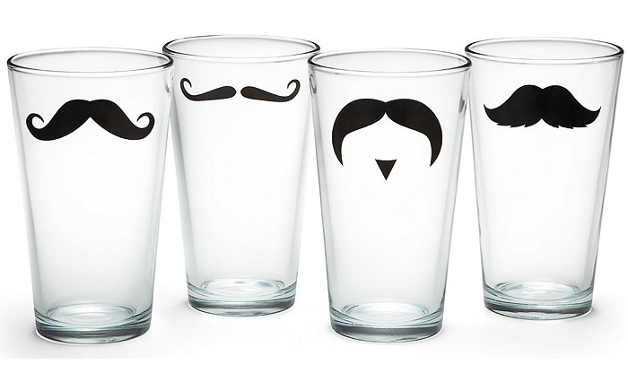 Quirky Moustache Drinking Glasses