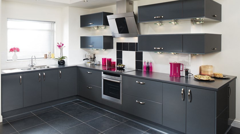 Tampa Anthracite Kitchen Fitted Kitchens From Betta Living - Grey fitted kitchens