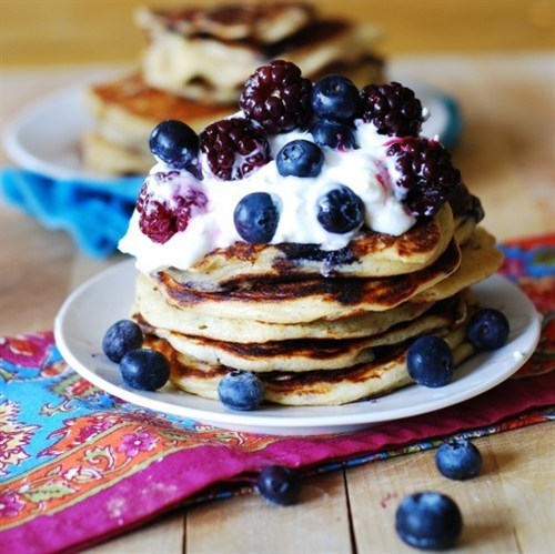Pancakes With Greek Yogurt And Mixed Berries