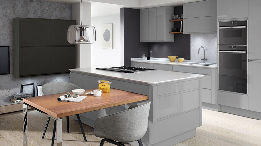 Linear Graphite Silver Grey Kitchen Fitted Kitchens From